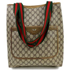 Auth Gucci Sherry Line Light Brown Tote #3288G10
